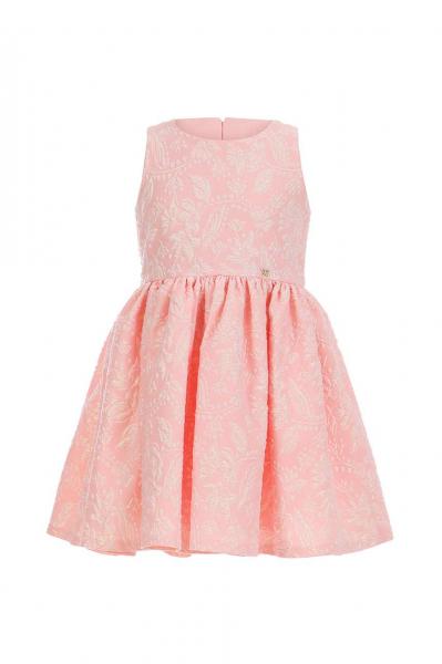 Розова рокля от жакард