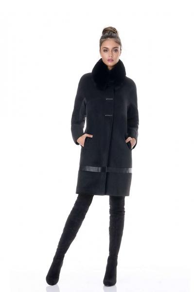Дамско палто в черно и сиво