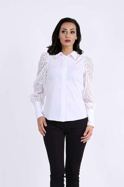 Риза с мрежести ръкави