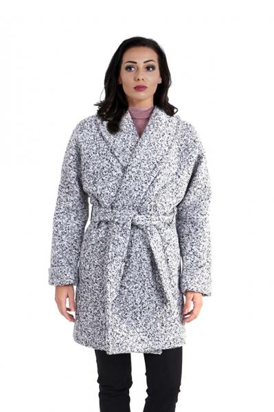 Текстурирано палто с каракул