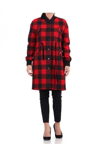 дамско карирано палто