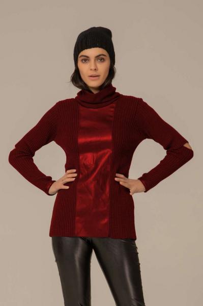 Блуза плетиво и кожа