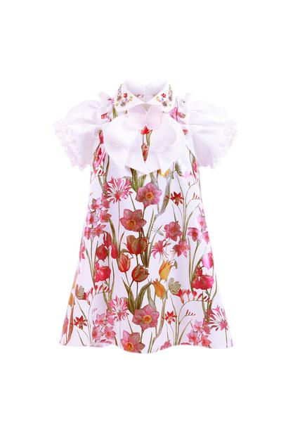 Детска рокля с флорален принт и ръкав