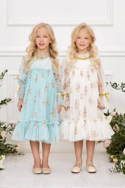 Синя рокля с флорален принт
