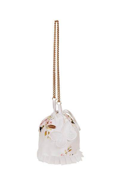 Бяла детска флорална чанта
