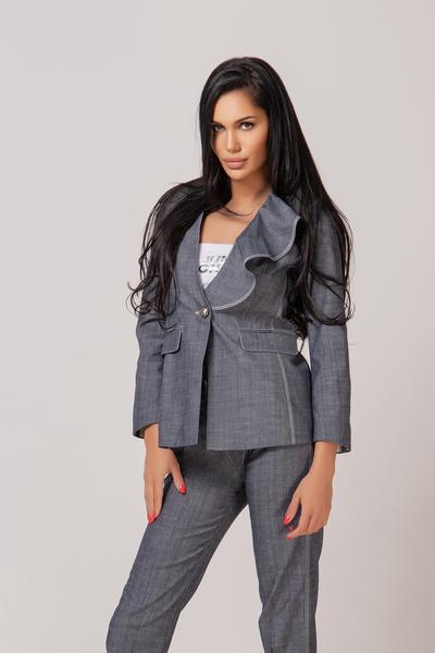 Дамско сако от лен в сив цвят