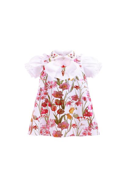 Бебе рокля с флорален принт и ръкав