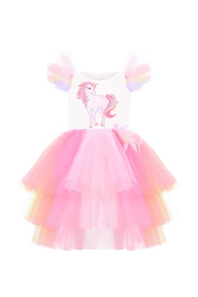 Детска рокля Еднорог в розов цвят