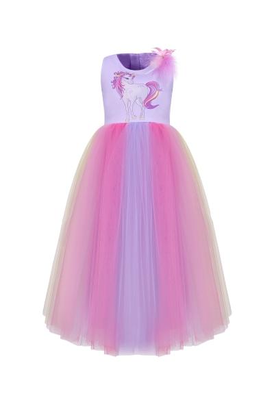 Детска рокля Еднорог в лилав цвят