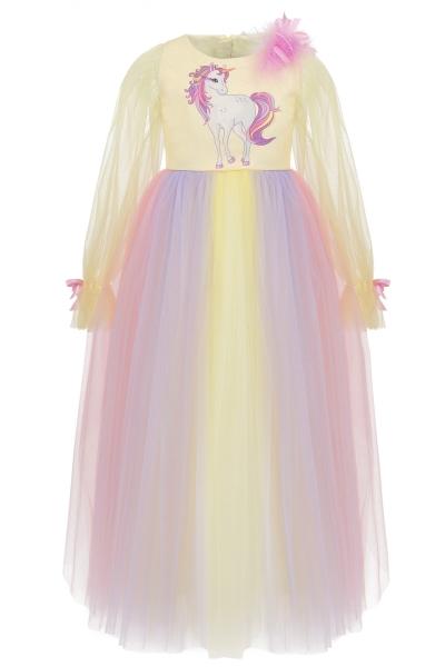 Детска рокля Еднорог в жълт цвят