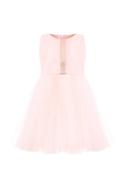 Розова детска рокля с тюл