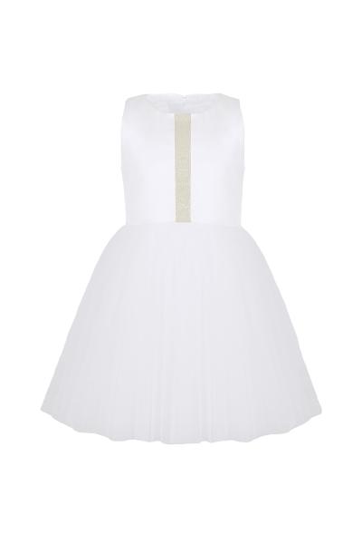 Бяла детска рокля с тюл