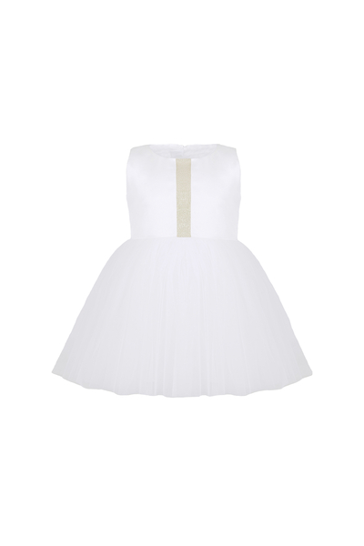 Бебешка бяла рокля с тюл