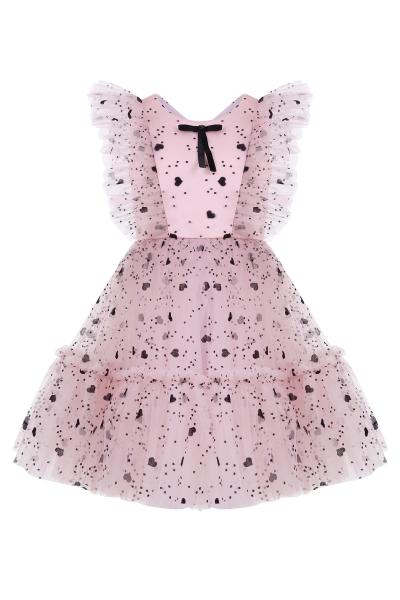 Розова детска рокля със сърца