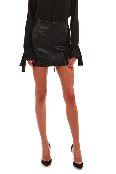Къса кожена пола с цип