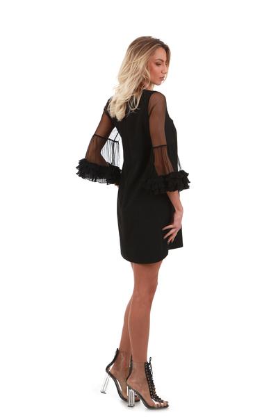 Черна рокля с мрежести части