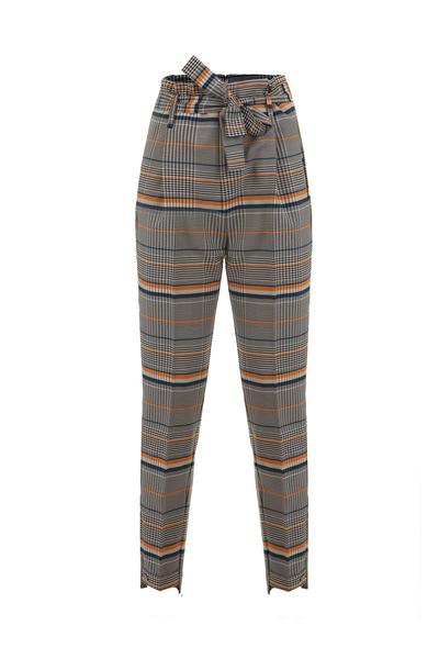 Кариран панталон с висока талия