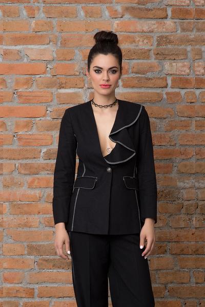 Дамско сако от лен в черен цвят