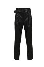 Черен кожен панталон с колан